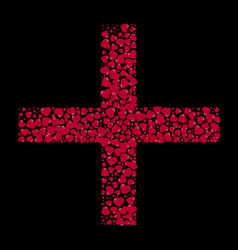 the shape of the cross is filled with small hearts vector image