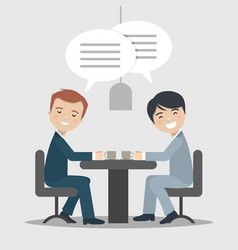 two businessman talking about work in a cafe vector image