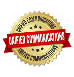 Unified communications round isolated gold badge vector