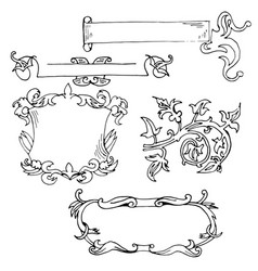 vintage decorative borders frames hand drawn vector image