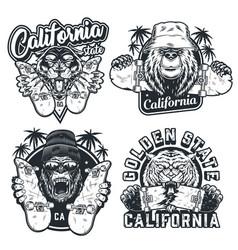 Vintage monochrome skateboarding prints vector