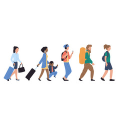 walking people in queue at airport vector image