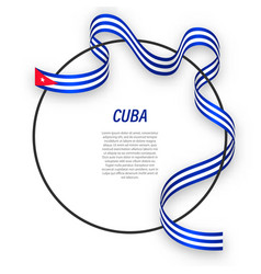 Waving ribbon flag cuba on circle frame vector