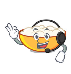 With headphone cottage cheese mascot cartoon vector