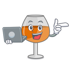 With laptop cognac ballon glass character cartoon vector