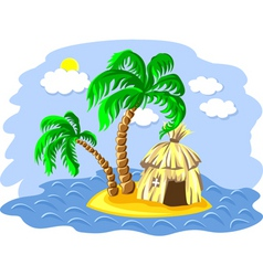 Wo palm trees and hut vector
