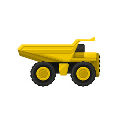 yellow tipper big wheels flat icon of vector image