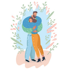 young man and girl standing and embracing vector image