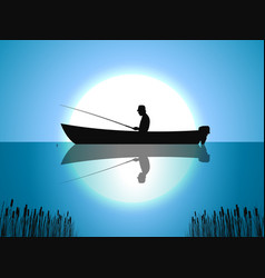 background moon fisherman on boat fishes vector image