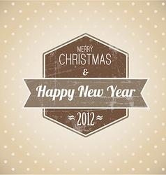 Brown vintage retro Christmas label vector image vector image