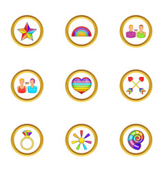 Lgbt people icons set cartoon style vector
