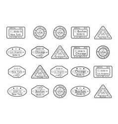 passport stamps arrival to usa cities black set vector image