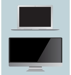 set monitor and laptop Realistic vector image vector image