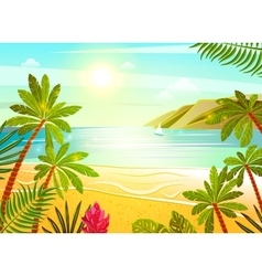 Tropical sea beach flat poster print vector image