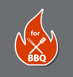 bbq icon sticker with grill tools vector image vector image