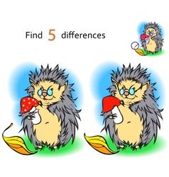 Find 3 differences hedgehog vector image vector image