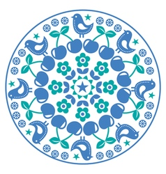 Finnish inspired round folk art pattern - Scandina vector image vector image