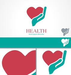 Hand Heart Wellness Health design Logo template vector image