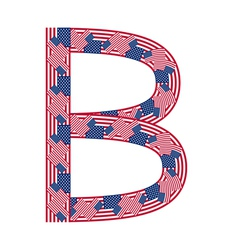 Letter B made of USA flags vector image vector image