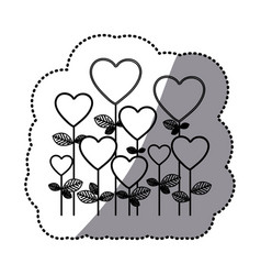 monochrome sticker silhouette with floral vector image vector image