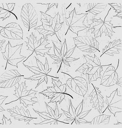 Seamless pattern with outline leaves monochrome vector
