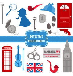 Detective sherlock party set - photobooth props vector