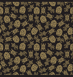 gold mexican traditional symbols seamless pattern vector image vector image