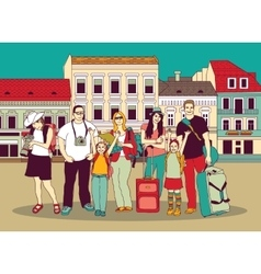 Group tourists people color in abstract city vector image vector image