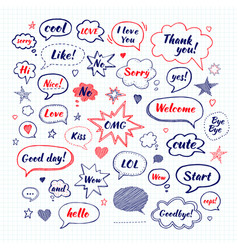 handwriting set of speech bubbles with dialog vector image vector image