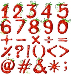Strawberry designed numbers vector image