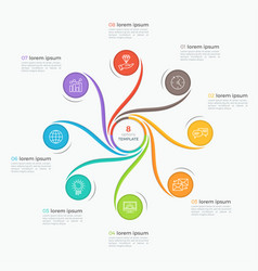 swirl style infographic template with 8 options vector image vector image