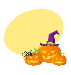 three hallowing jack o lanterns pumpkins in vector image vector image