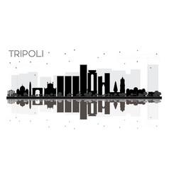 Tripoli city skyline black and white silhouette vector