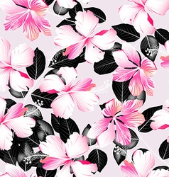 Tropical hibiscus flowers with black leaves vector image vector image