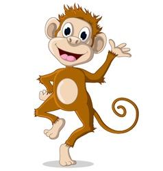 cute monkey cartoon posing vector image
