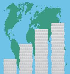Global business finance map money vector image