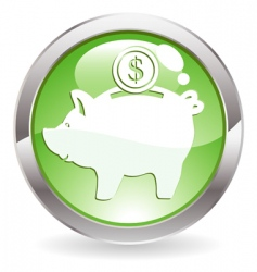 gloss button with piggy bank vector image