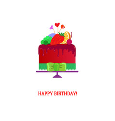 happy birthday cake with fruites vector image