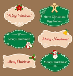 Vintage frames with Christmas decorations vector image