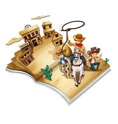 A book with an image of three cowboys vector image