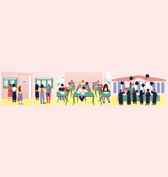 A set varied and interesting student life vector