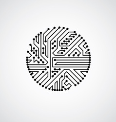 Abstract computer circuit board monochrome vector