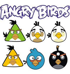 Angry birds 6 designs with angry bird text vector