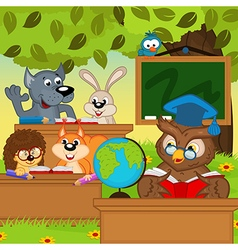 Animals sit at school desks in forest vector