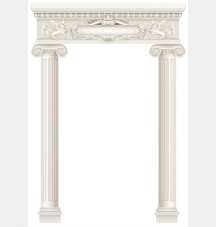 antique white colonnade with old ionic columns vector image