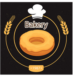 Bakery donut oat circle back background ima vector