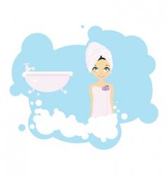 bath girl vector image