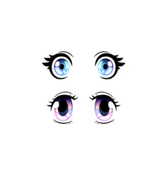 Beautiful blue and violet eyes with shiny light vector