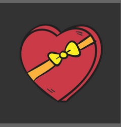 big red heart with a bow on dark background vector image