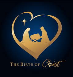 Birth christ and manger in heart vector